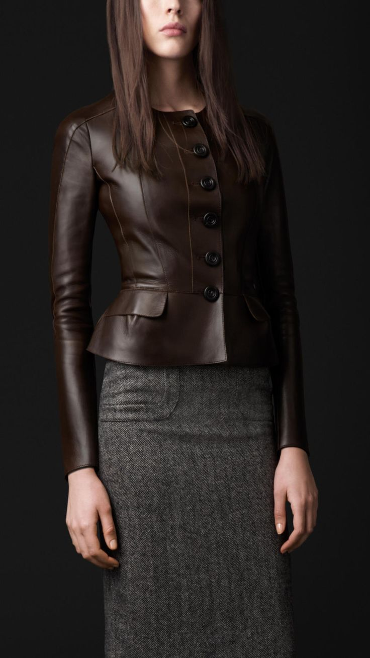Burberry Peplum Detail Leather Jacket