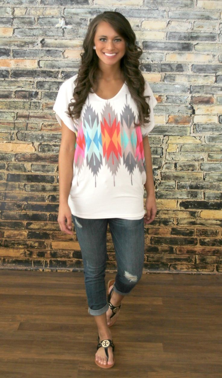 The Pink Lily Boutique - Summer Oasis Aztec Blouse, $32.00 (http://thepinklilyboutique.com/summer-oasis-aztec-blouse/)