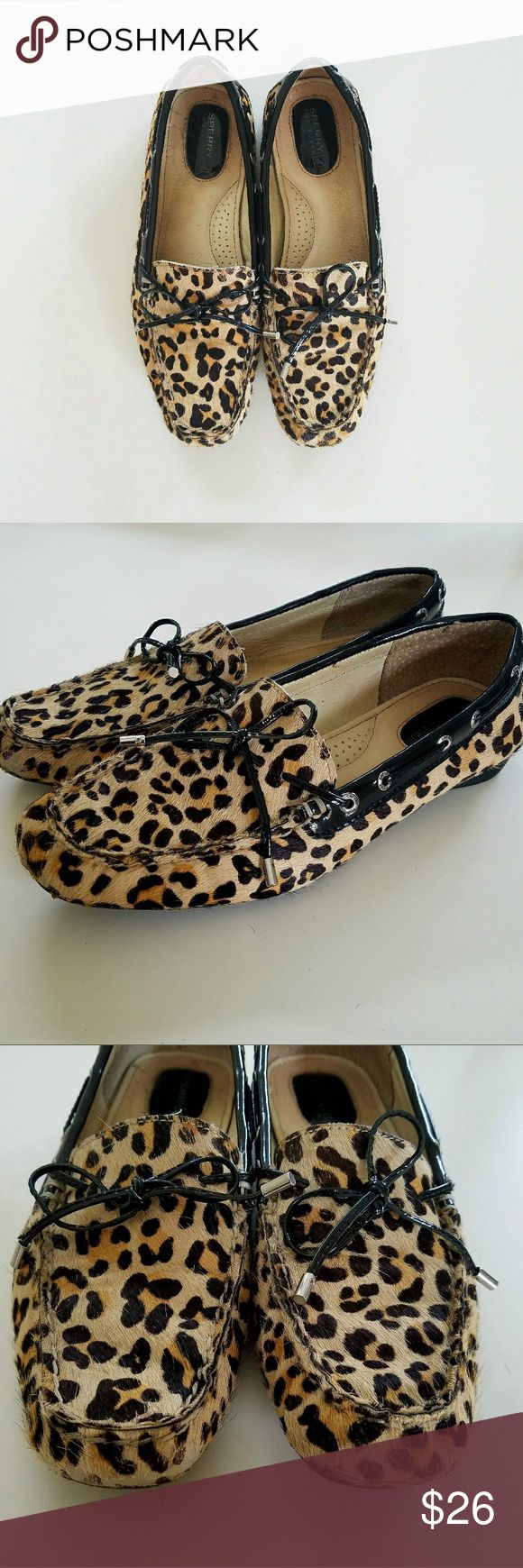 💜💜LEOPARD SPERRY💜💜 A cute leopard shoes, love used in good conditions Sperry Shoes Flats & Loafers