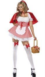 Sexy #roodkapje kostuum!  Roodkapje wit-rood geblokte jurk met rode koord aan de voorkant, een vastgestikt wit blousje, een wit schortje en aan de binnenkant van het rokje is een witte #petticoat gestikt (deze bestaat uit een laag). Het jurkje wordt geleverd met een rode #cape.