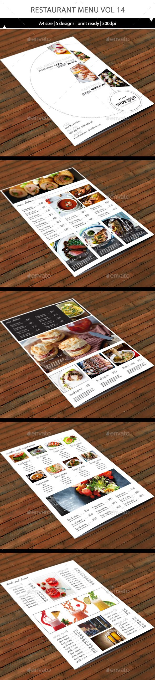 Restaurant Menu A4 Vol13 - Food Menus Print Templates