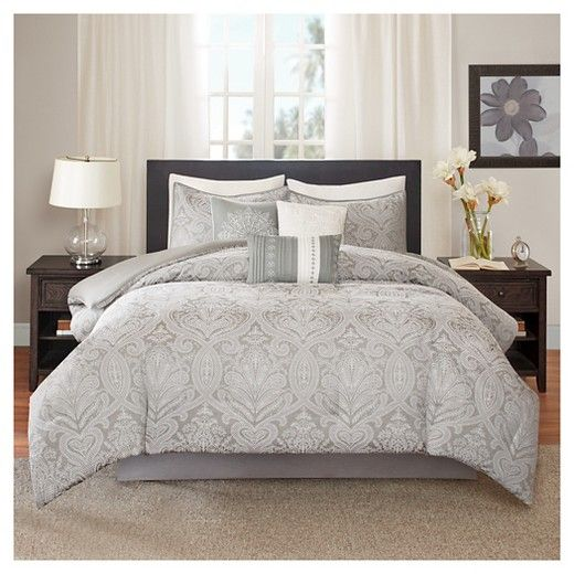 • Intricate embroidered paisley pattern<br>• Contemporary gray & white hues<br>• Super-soft polyester construction<br>• Warm & snuggly polyester fill<br>•Machine wash delicate<br>• Available in standard mattress sizes<br>• 7-piece set includes: comforter, 2 pillow shams, bedskirt & 3 decorative pillows<br><br>The 7-Piece, Devin Medallion Paisley Comforter Set in...