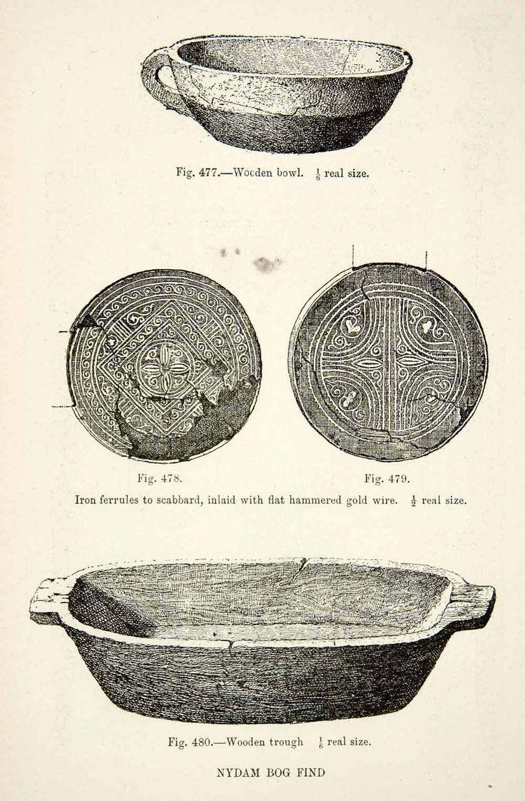1889 Wood Engraving Wooden Bowl Trough Iron Ferrules Scabbard Viking XGYA7 | eBay