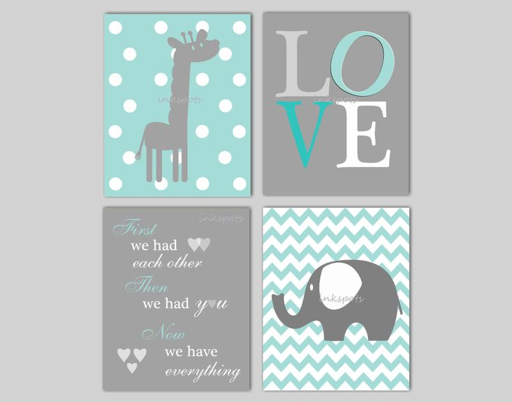 This elephant print and giraffe print collection includes four prints, including an elephant print on a chevron background, a giraffe print on a polka-dot background, the well-known quote, First We Had Each Other..., and a LOVE print. The print collection will be a lovely addition to the decor in your little ones nursery and each print can be customized to match your décor. Just send me a photo or link to your bedding and I will be happy to work on coordinating colors for your prints, or…