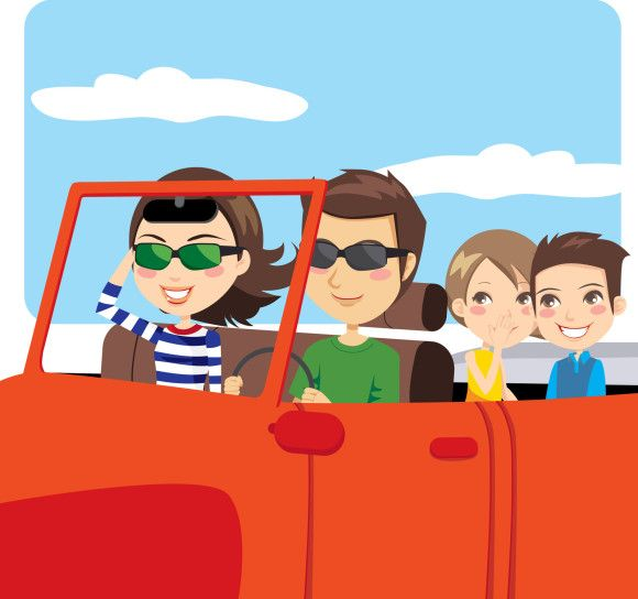 Out and about family in orange car