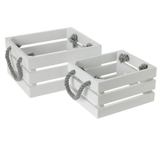 buy collection set of 2 bathroom storage crates white at argoscouk