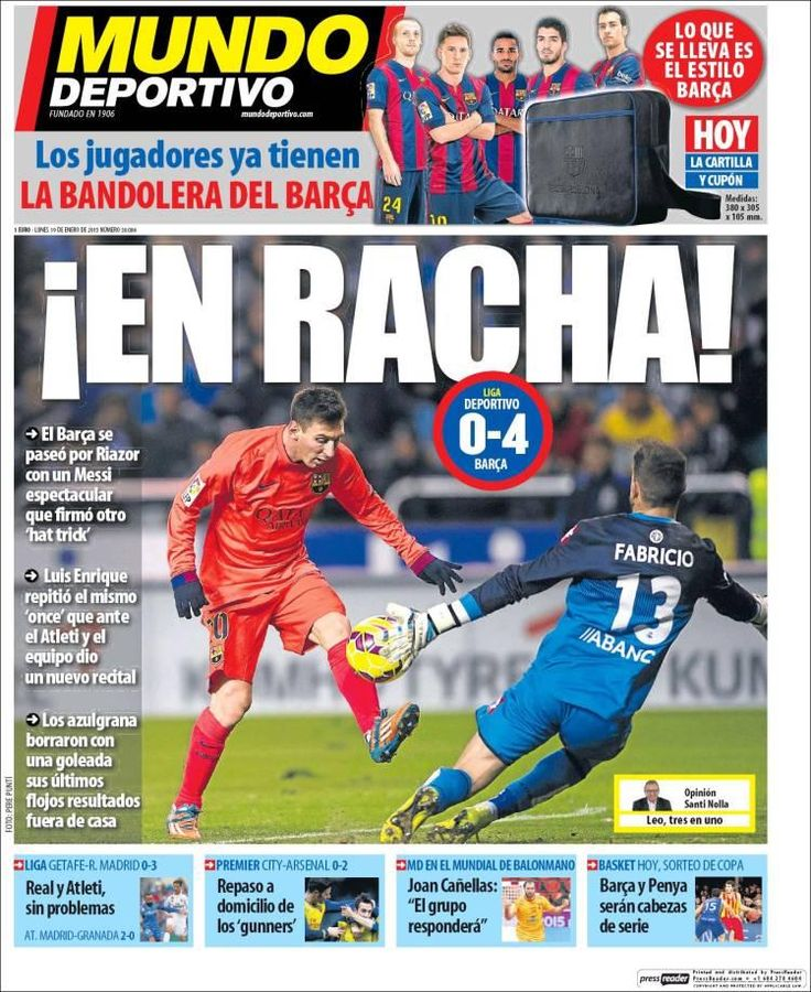 Messi on the front page of @mundodeportivo today: 'ON A ROLL' 19-012015