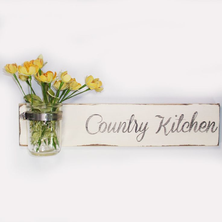 Sale- Cottage Chic- Wood Country Kitchen Wall Sign Vase- Cottage Chic- French Chic- Shabby- Country Decor- Choose From Many Colors