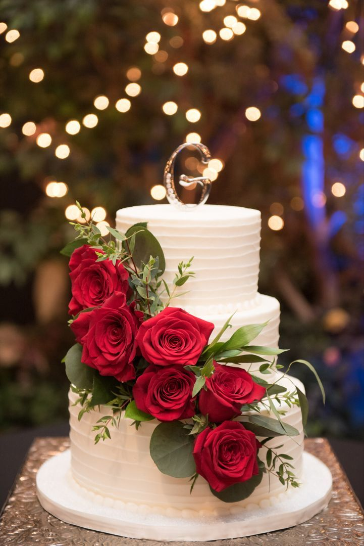 Three Tier Wedding Cake With Red Roses Weddingcakes Weddingvenues Redredroses Wedding Cake Red Wedding Cake Roses Red Rose Wedding