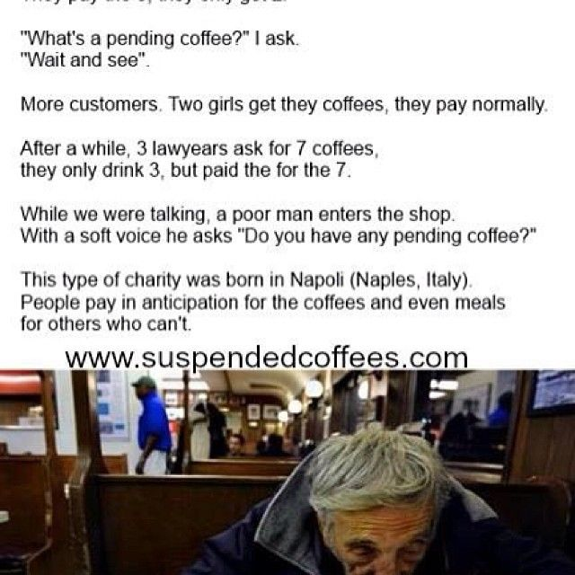 What a great idea!  I hope it catches on everywhere.  Share some kindness warm a strangers heart. Suspended coffees - it's about more than the coffee