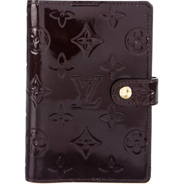Pre-owned Louis Vuitton Vernis Small Ring Agenda Cover (705 BRL) ❤ liked on Polyvore featuring home, home decor, stationery and purple