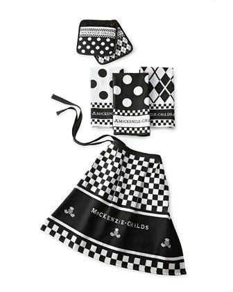 MacKenzie-Childs Black & White Kitchen Linens Set