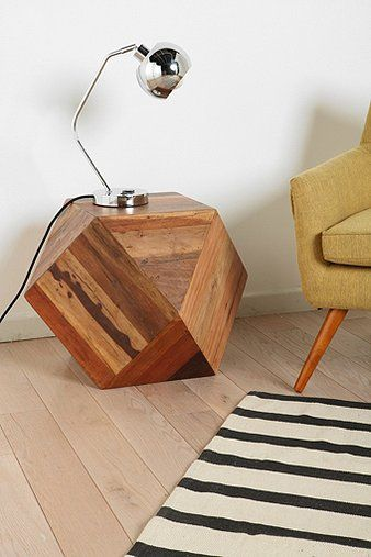 """Faceted Woodblock Side Table.  Orrrrrrr you could paint it like a gamer die, great for """"man cave"""""""