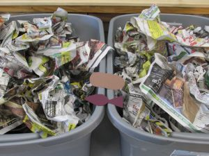 Fill 2 tubs with crumpled newspaper. Hide loaves & fishes in each. 2 teams race to find a loaf/fish and take back to their team.