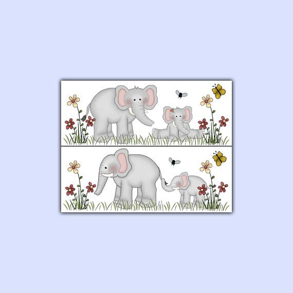 Elephant Wallpaper Border Wall Decals for baby girl or boy jungle animal nursery or childrens safari bedroom decor. Elephant family enjoying the beautiful spring day. Use as wall border or decals. One Purchase is for One Set. One set includes four 11x 8.5 sticker sheets. The material