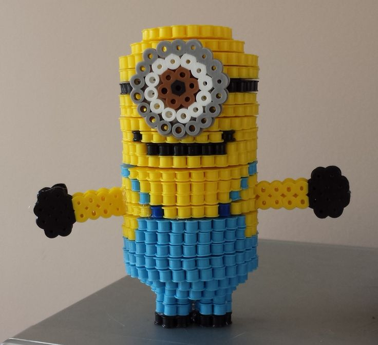 3D Minion Dave perler beads by Joanne Schiavoni