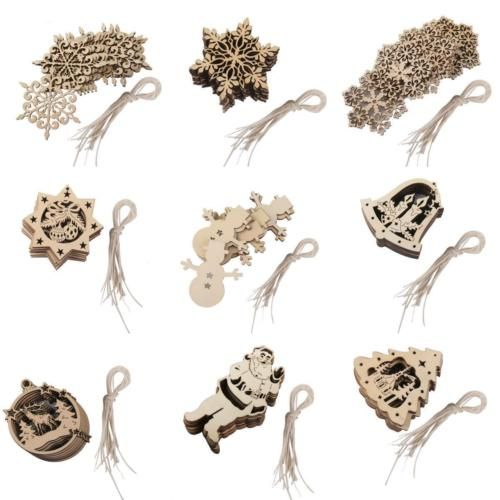10x-Shabby-Laser-Cut-Wood-Embellishment-Elk-Snowflake-Santa-Bell-Xmas-Tree-Decor
