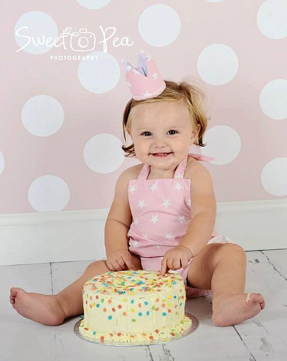 Girls Cake Smash Set - Ruffle Romper and crown age 12-24 months - baby photography - baby clothes - UK SELLER - free postage