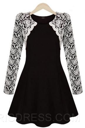 Ericdress Amazing Lace Patchwork Long Sleeve Casual Dress Casual Dresses