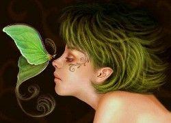 Kobieta, Zielone, Włosy, Tatuaż, Motyl