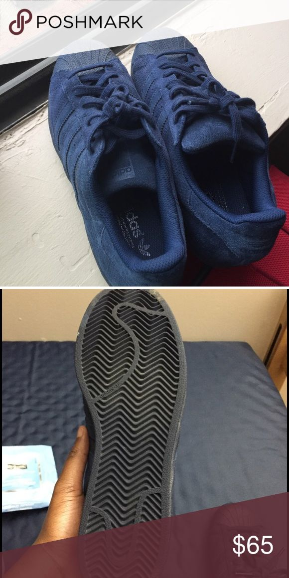 Dark blue Adidas superstar Fairly new & only been worn a few times adidas Shoes Sneakers