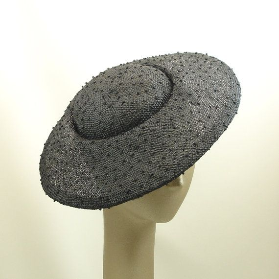Saucer Hat Vintage Style Black Knotted Sisal by TheMillineryShop, $235.00