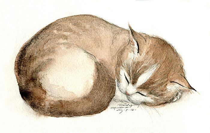 CHINESE 喵~   dodolog 水彩 猫咪_涂鸦王国 <> ENGLISH Meow ~ - dodolog watercolor cat Graffiti Kingdom