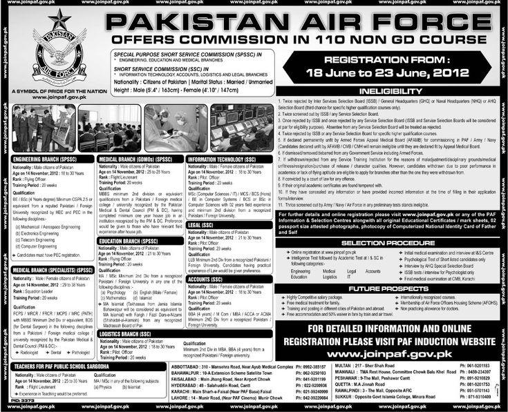 jobs in pakistan air force june 2012