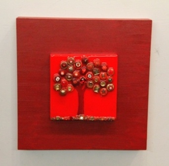 A Tree in red with gold accents - 12x12 inches