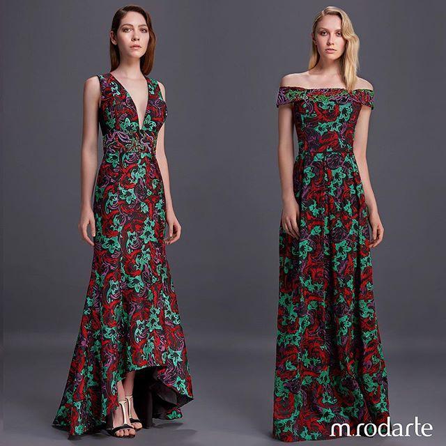 Nosso luxuoso jacquard com desenho de lírios em duas versões de vestidos longos #mrodarte #glam #couture #instafashion