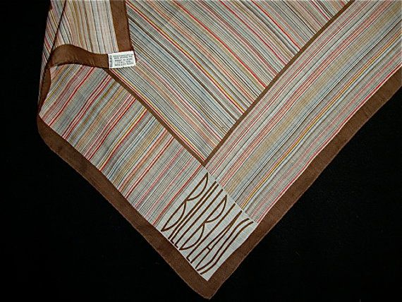 Vintage BILL BLASS Cotton Brown Striped Pocket Square Small