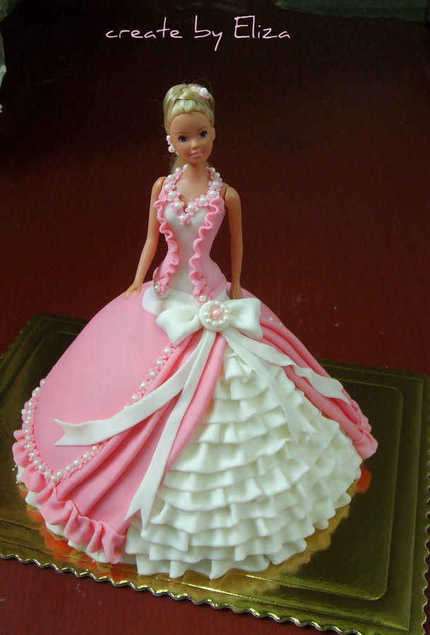 Pink dress for Barbie Doll cakes Pinterest Pink ...