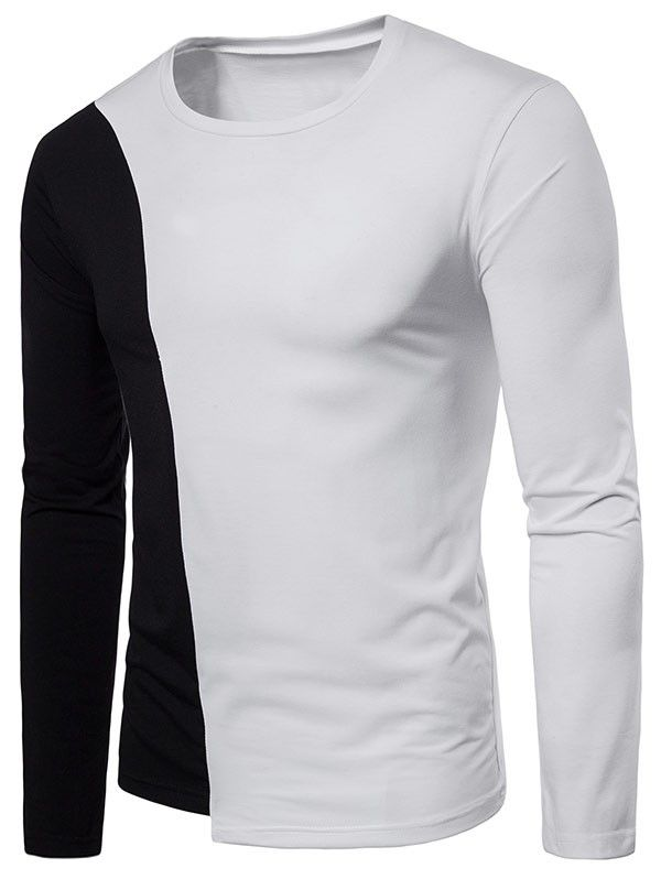 2e605966 Contrast Casual Long Sleeve Tee - White - 3686698219 in 2019 | Men's ...