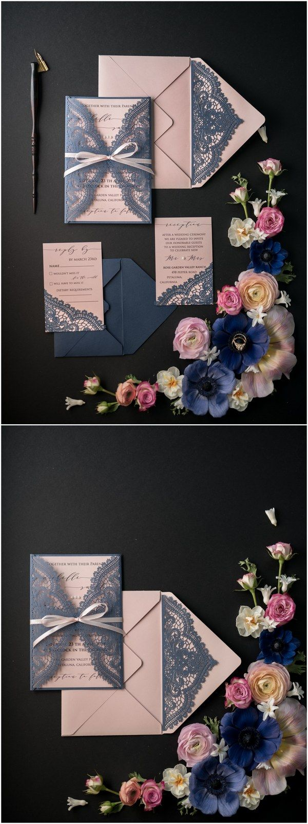 vintage country garden wedding invitations%0A Navy and pink laser cut wedding invitations   LCNZ