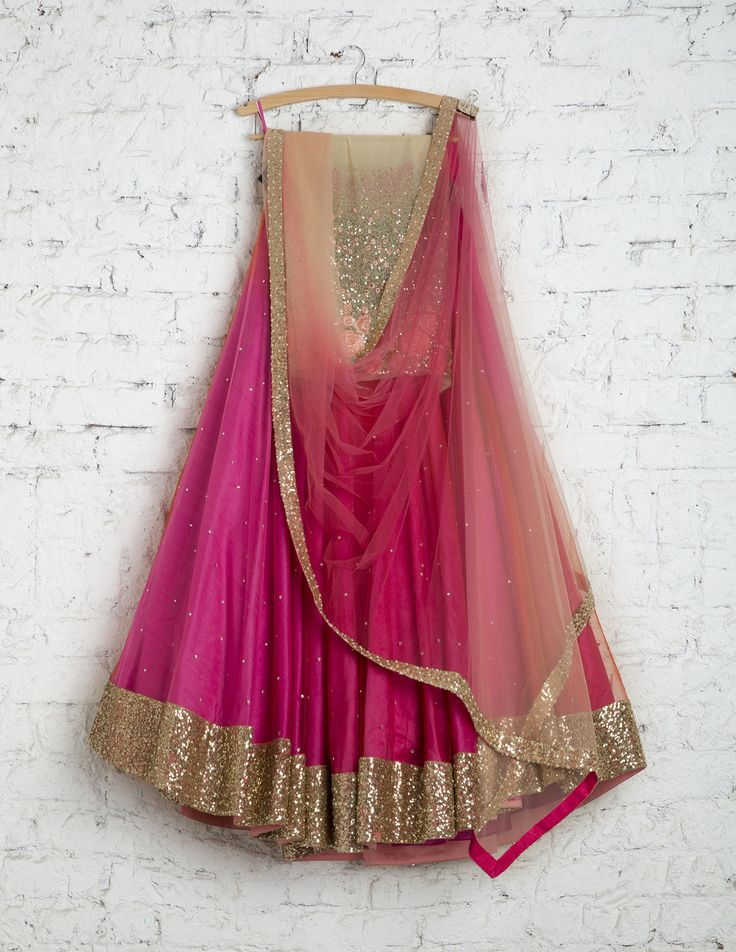 SwatiManish Lehengas SMF LEH 167 17 Pink rose dual flair with shaded dupatta and pink threadwork sequin blouse