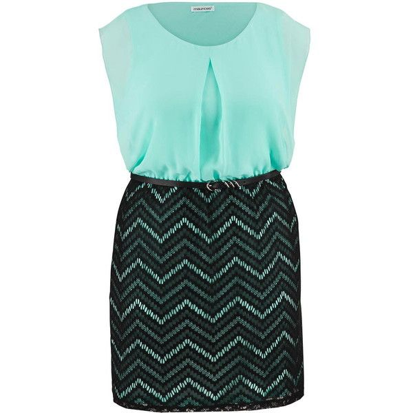 maurices Plus Size - Chevron Stripe Skirt Chiffon Top Dress (345 VEF) ❤ liked on Polyvore featuring dresses, plus size, cool aqua combo, women plus size dresses, plus size day dresses, chevron pattern dress, plus size pleated dress and plus size dresses