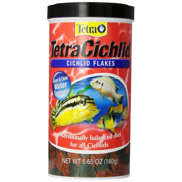 5.65oz TetraCichlid Cichlid Flakes 2.82oz provide nutrition and energy for the well-being of top- and mid-water feeding cichlids, including South American and Central American cichlids and all African cichlids.