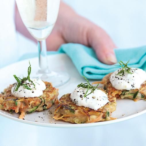 White bean, carrot and mint fritters with yoghurt dressing   Australian Healthy Food Guide