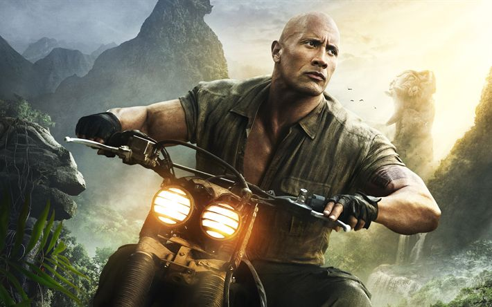 Download wallpapers Jumanji, Welcome to the Jungle, 2017, Dwayne Johnson, Dr Smolder Bravestone, poster, new movies