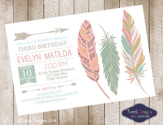 baby shower invitations feather theme  | POW WOW anniversaire Invitation, Invitation anniversaire à imprimer ...