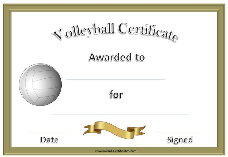 volleyball certificate template | Formal Volleyball ...