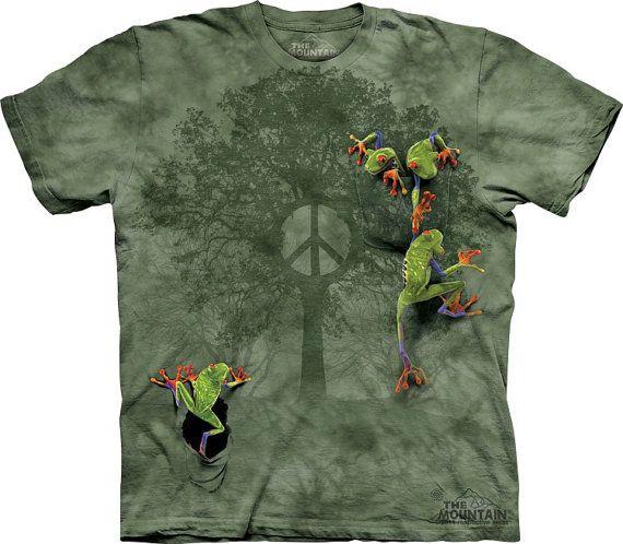 woman's or men's tshirt peace tree frog por LIBERTYHORSE en Etsy