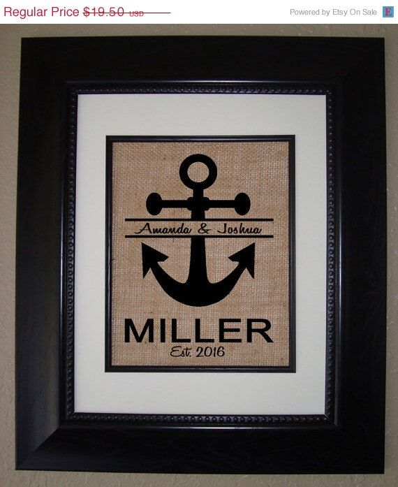 25% OFF SALE Personalized Anchor Monogram Burlap Print Nautical Wedding Gift .. Housewarming Gift .. Anniversary Gift .. Bridal Shower Gift by BellaTara on Etsy https://www.etsy.com/listing/228400414/25-off-sale-personalized-anchor-monogram
