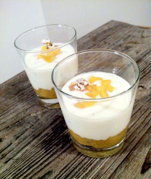 YOGHURT MOUSSE WITH MANGO AND NUTS IN A GLASS per 2 persone / 2 servings : • 1 mango / 1 mango • 40g zucchero a velo / 40g icing sugar • 150g yogurt greco magro / 150g low-fat greek yoghurt • 50ml...