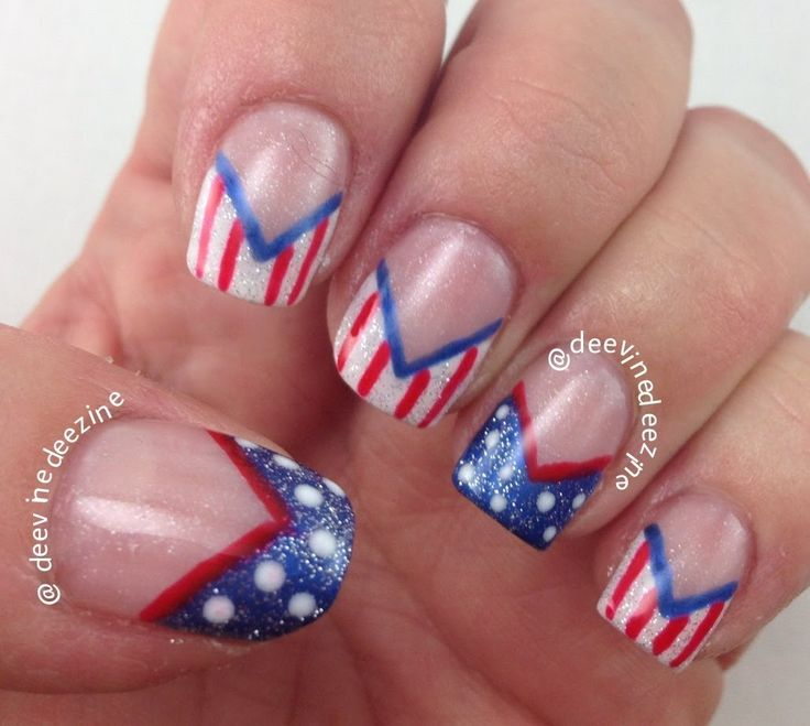 171 best nail art 4th of july and usa patriotic images on fourth of july chevron french tips nail art july nail art of july nail art prinsesfo Gallery
