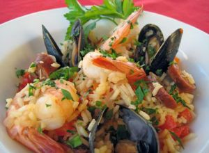 Saffron Paella With Seafood and Sausage