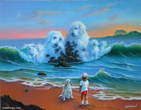 """""""Canine Companions""""  ~ Jim Warren  The painting we bought my parents for christmas <3"""