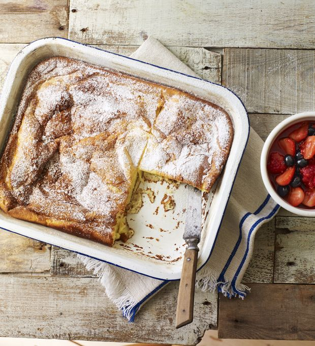 Finnish pancakes are a cross between a Yorkshire pudding and a pancake, served with a sweet topping of your choice – what's not to like?