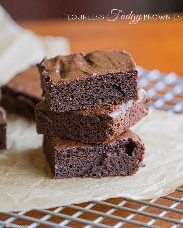 Flourless Fudgy Brownies. These gluten free brownies are made with almond butter, cocoa powder and agave nectar.