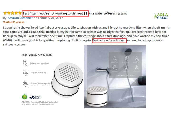 AquaCrest shower water filter with 5 stars reviews